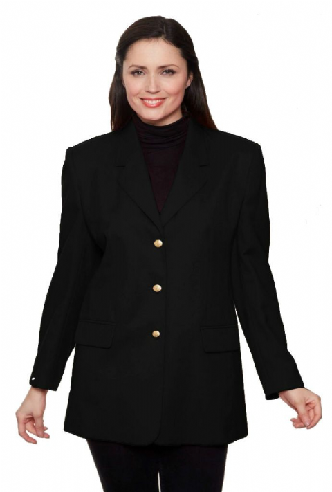 Womens Black Wool Blazer Jacket db982